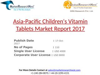 Asia-Pacific Children's Vitamin Tablets Market Report 2017.pptx