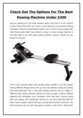 Check Out The Options For The Best Rowing Machine Under $300.doc