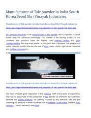 Manufacturer of Talc powder in India South Korea Seoul Shri Vinayak Industries.pdf